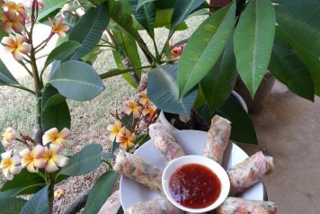 rice paper rolls and flowers