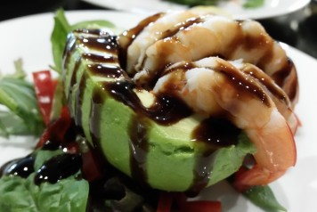 Prawns and Avocado, served with a Balsamic vinegar